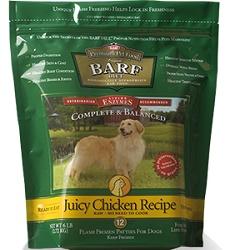 Barf Diet Raw Dog Food Chicken Patties Flash Frozen